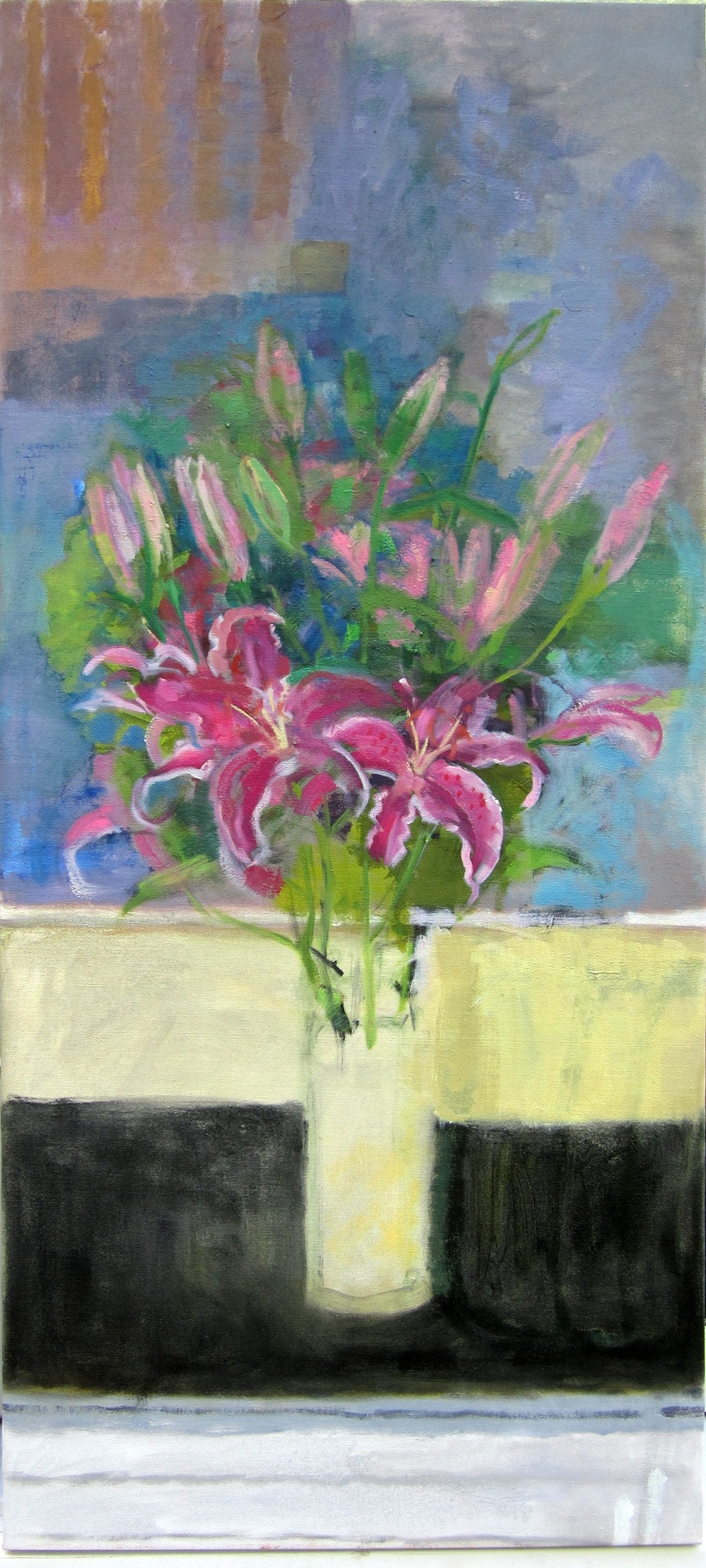 "Ellen Sapienza, ""Lilies"" oil on canvas, 40"" x 18"""