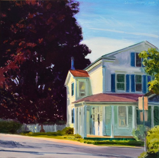 White House with Blue Chimney  24″x24″