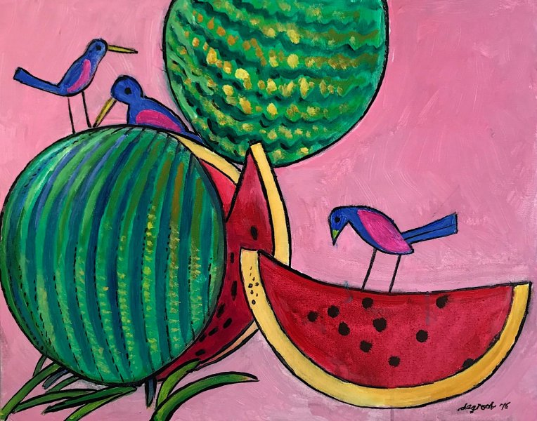 Birds and Watermelons   16″x20″