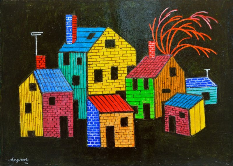 Composition with Houses  18″x24″