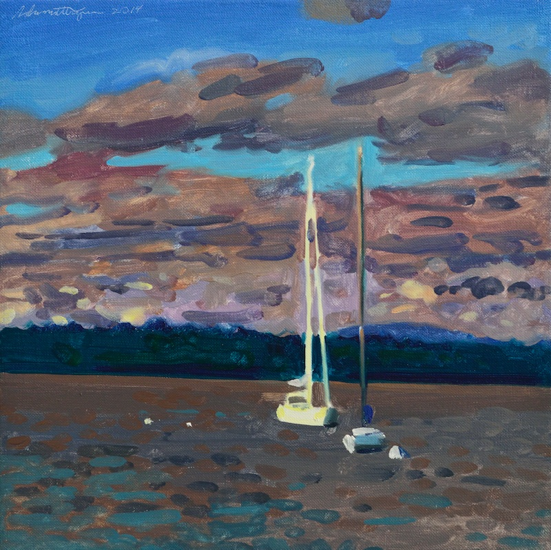 Sailboat and Moody Clouds  14″x14″